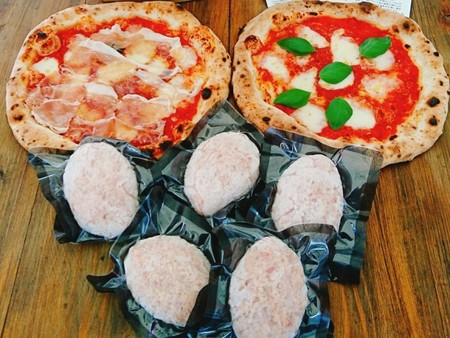 イベリコ豚とおいも豚の64ハンバーグ5個と 人気都農ピザ2枚セット[冷凍・送料無料]